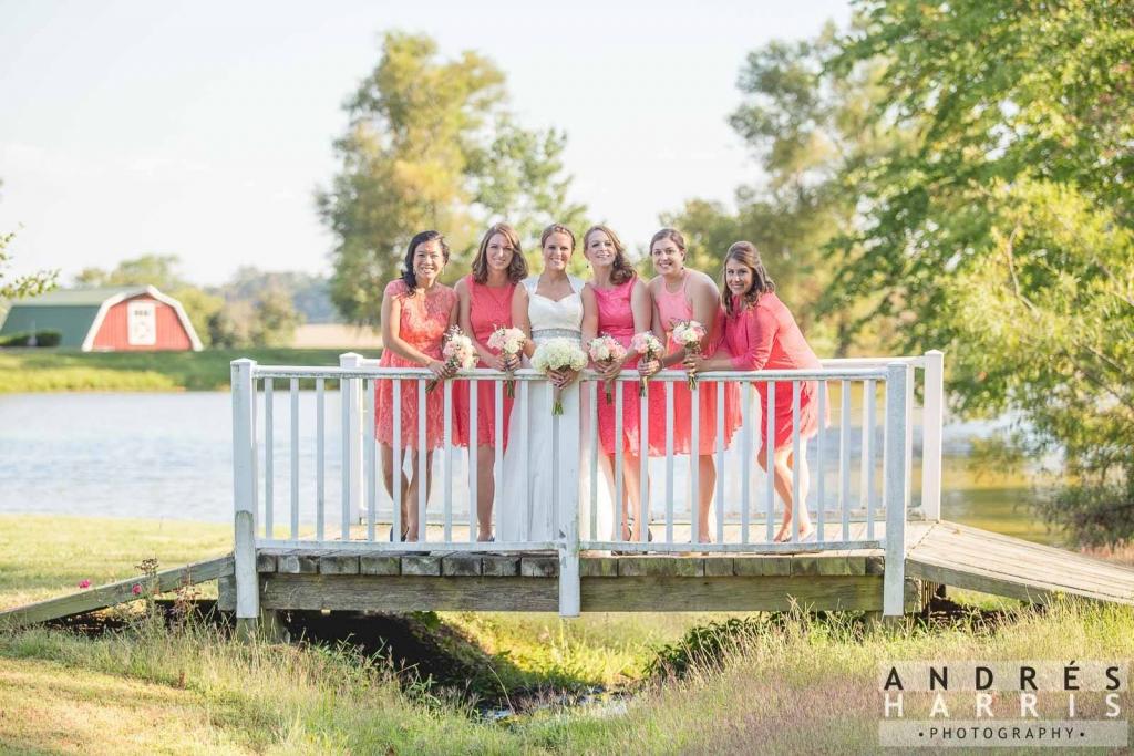 Bride & bridesmaids on bridge
