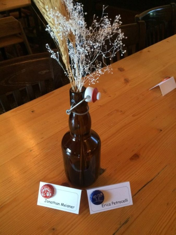 Bottle Decorations at Charlotte Brewery Rehearsal Dinner