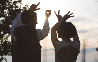 Chapel Hill Wedding bride and groom LOVE photo