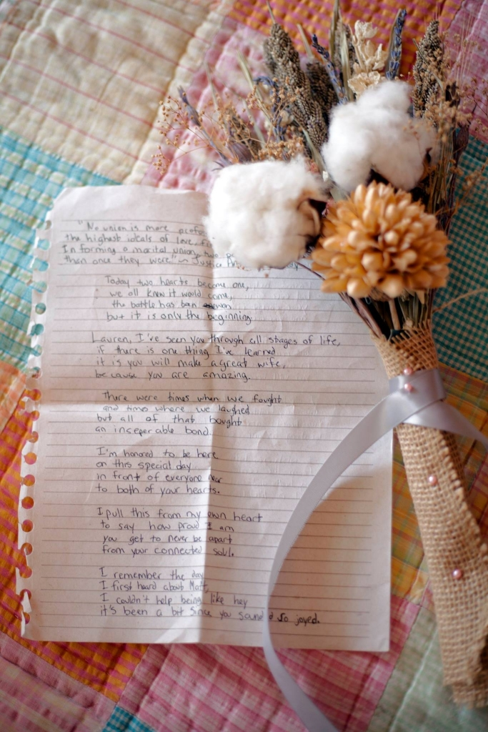Dried bouquet and note from sister.