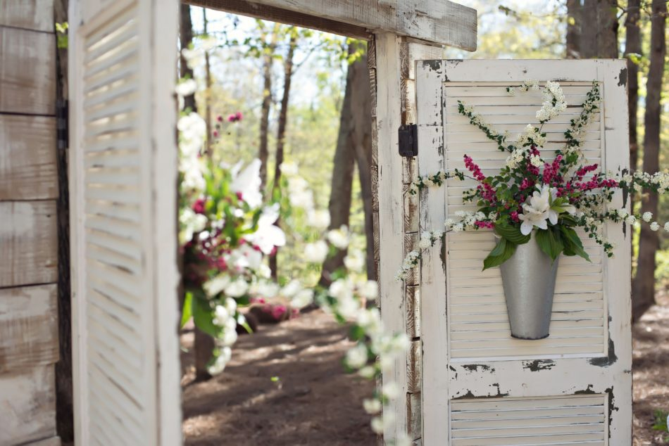 Backyard NC Wedding vintage doors