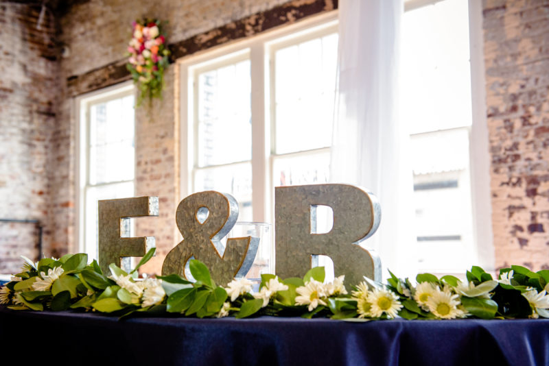 Sweetheart Table Initials, Raleigh Wedding