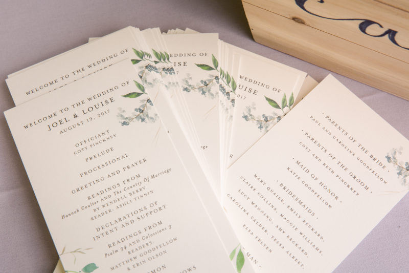 Chapel Hill Wedding Programs