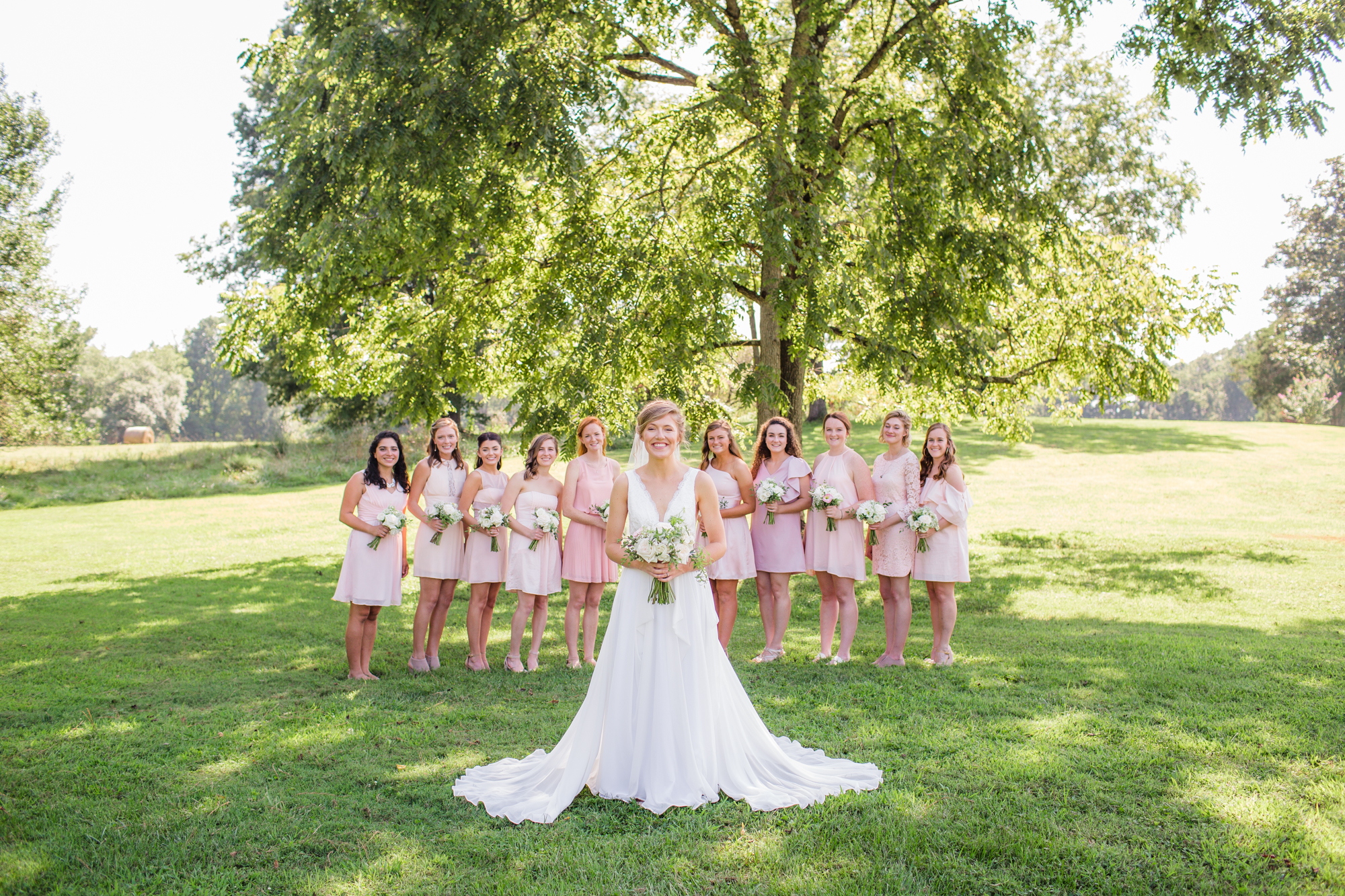 Pink Bridesmaid Gowns - Chapel Hill Wedding